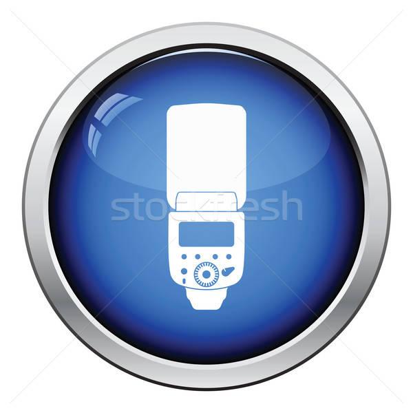 Icona portatile foto flash lucido pulsante Foto d'archivio © angelp