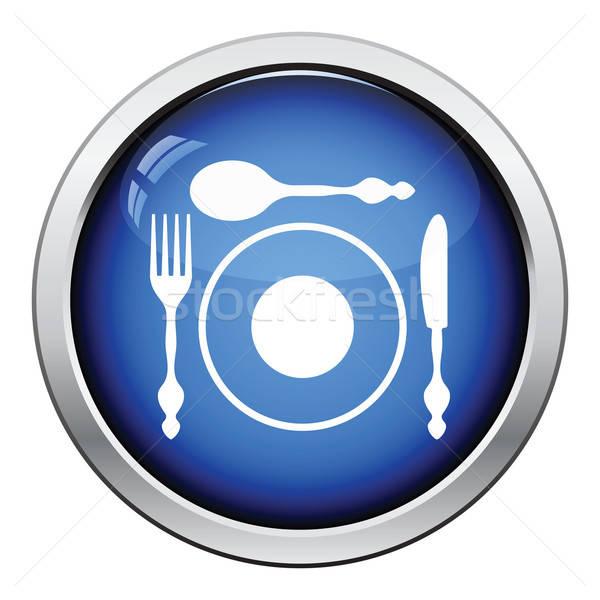столовое серебро пластина икона кнопки дизайна Сток-фото © angelp