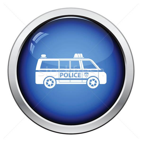 Foto stock: Policía · van · icono · botón · diseno