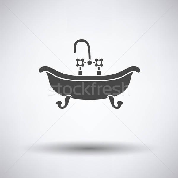Vasca da bagno icona grigio acqua sfondo bagno Foto d'archivio © angelp