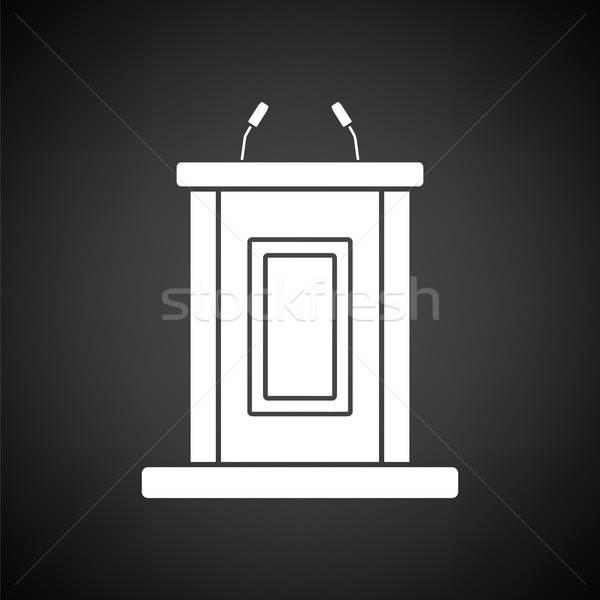 Zeuge stehen Symbol schwarz weiß Büro Recht Stock foto © angelp