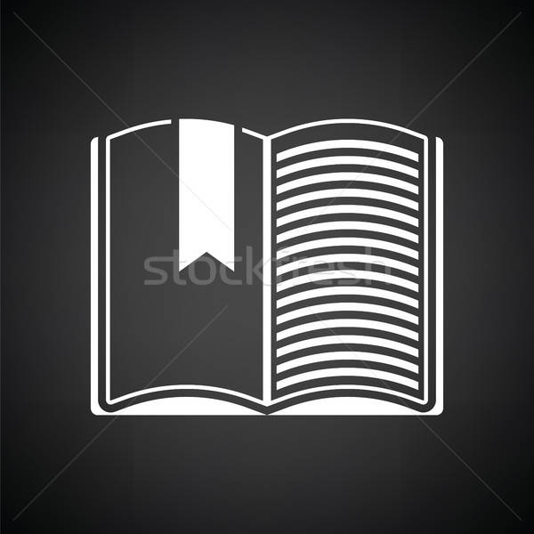 Livro aberto marcar ícone preto e branco livro preto Foto stock © angelp