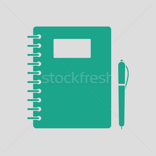 練習帳 ペン アイコン グレー 緑 学生 ストックフォト © angelp