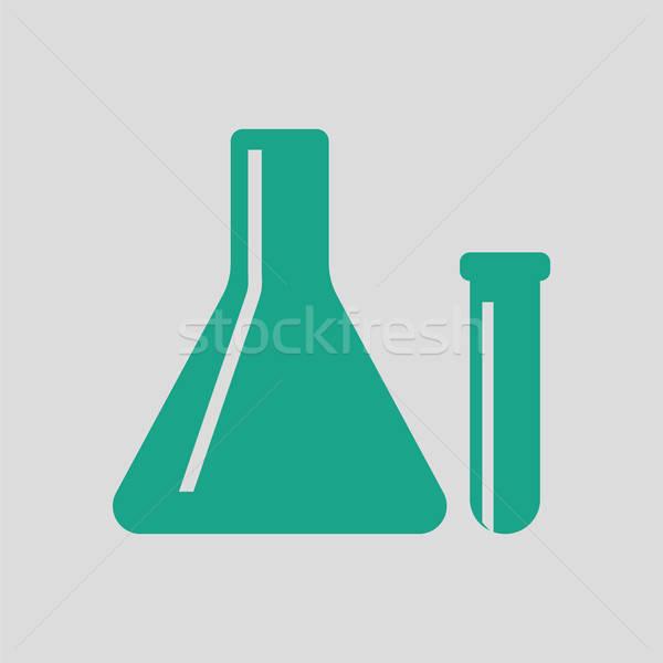 Stockfoto: Chemische · icon · grijs · groene · abstract · medische