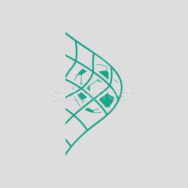 Futballabda kapu net ikon szürke zöld Stock fotó © angelp