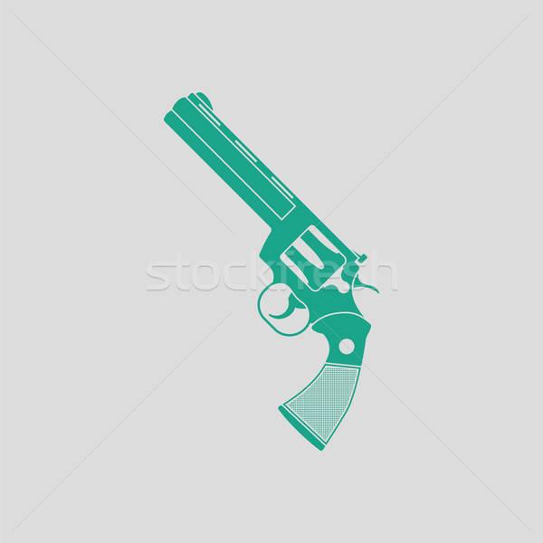 Revolver pistool icon grijs groene cowboy Stockfoto © angelp