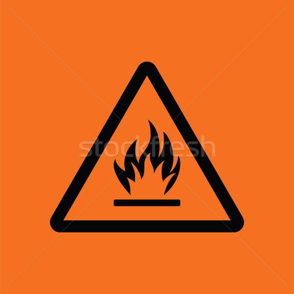 Gyúlékony ikon narancs fekete biztonság ipar Stock fotó © angelp