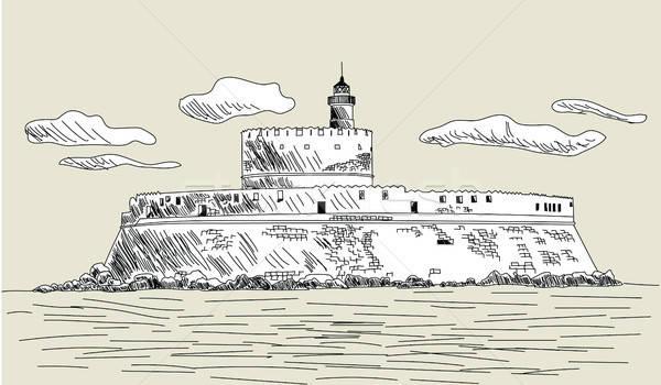 древних форт эскиз дизайна облака строительство Сток-фото © angelp