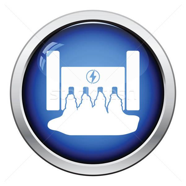 Elektromos erőmű ikon fényes gomb terv víz Stock fotó © angelp