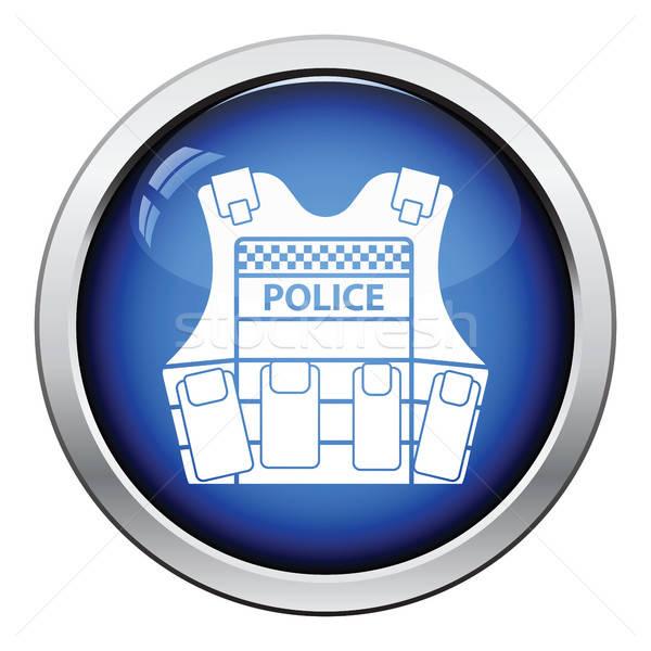 Polizia gilet icona lucido pulsante design Foto d'archivio © angelp