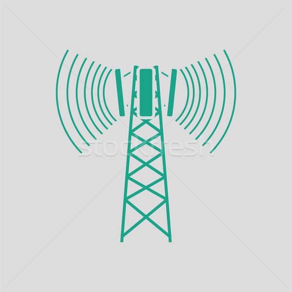 Mobil műsorszórás antenna ikon szürke zöld Stock fotó © angelp