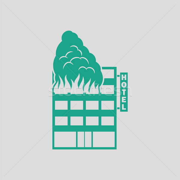 Hotel building in fire icon Stock photo © angelp