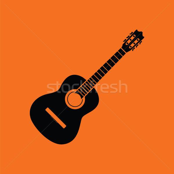икона оранжевый черный музыку гитаре Сток-фото © angelp