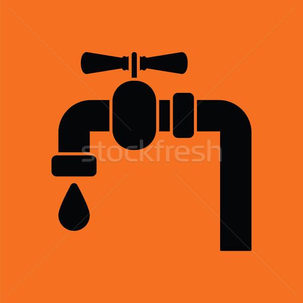 ícone tubo válvula laranja preto abstrato Foto stock © angelp