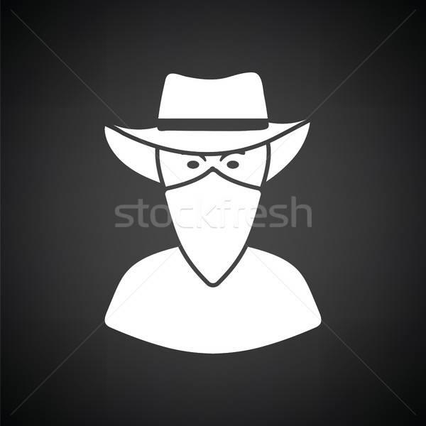 Cowboy szalik twarz ikona czarno białe czarny Zdjęcia stock © angelp