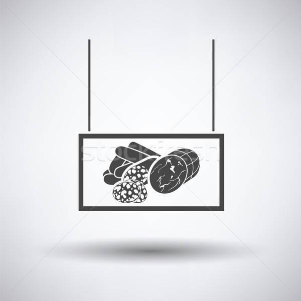 Worstjes markt afdeling icon grijs teken Stockfoto © angelp
