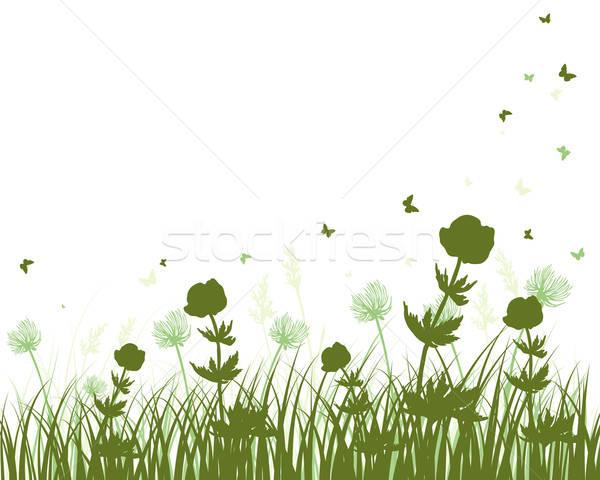 Prairie silhouettes vecteur herbe tous objets Photo stock © angelp