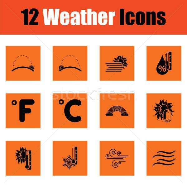 Ingesteld weer iconen oranje ontwerp Stockfoto © angelp