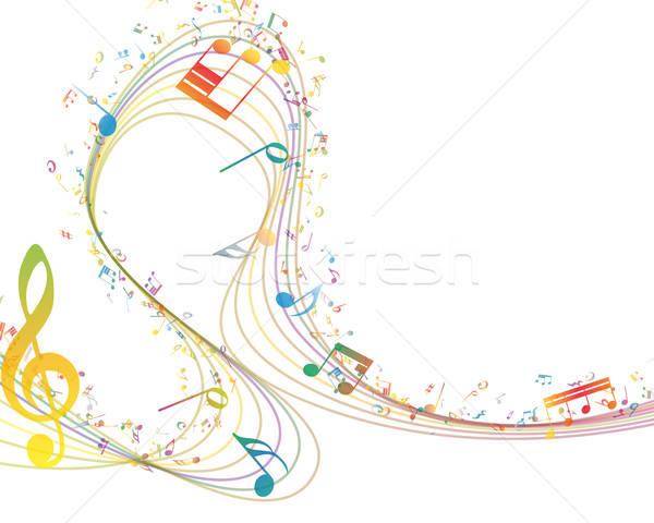 Musical kluczowych zauważa rząd ilustracja przezroczystość Zdjęcia stock © angelp