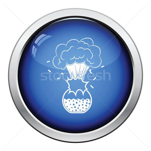 Ikon robbanás kémia flaska fényes gomb Stock fotó © angelp