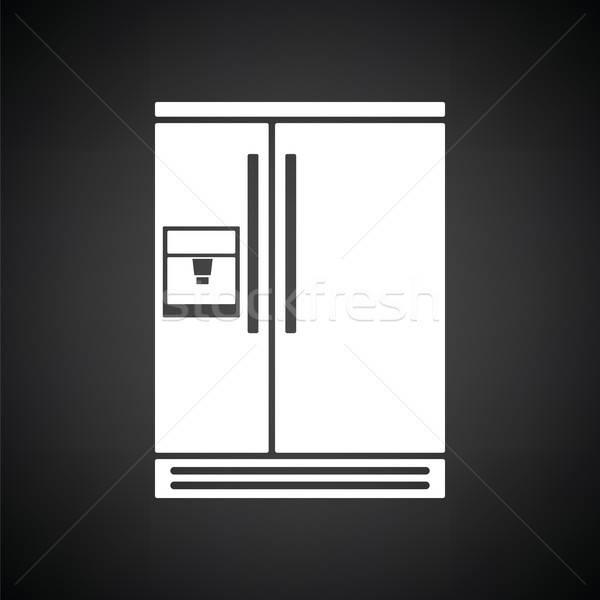 широкий холодильнике икона черно белые фон черный Сток-фото © angelp
