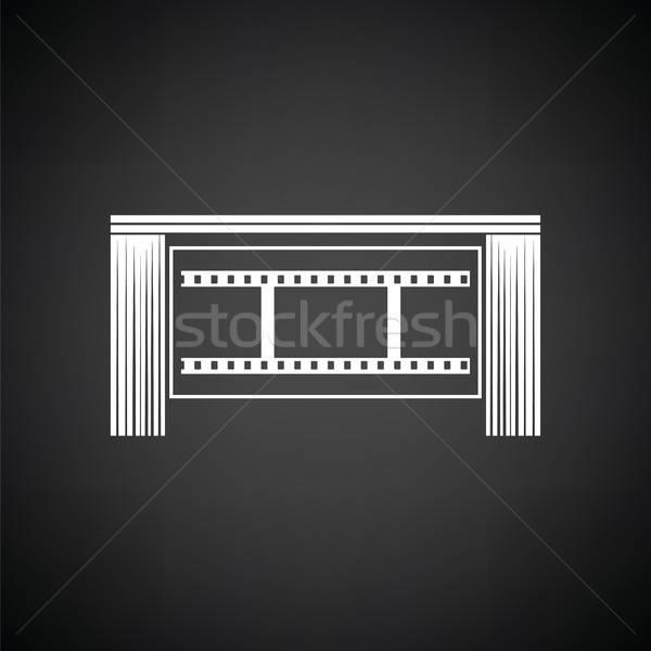 Sinema tiyatro oditoryum ikon siyah beyaz film Stok fotoğraf © angelp