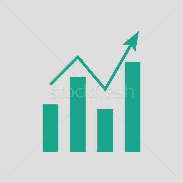 Analytics grafiek icon grijs groene abstract Stockfoto © angelp