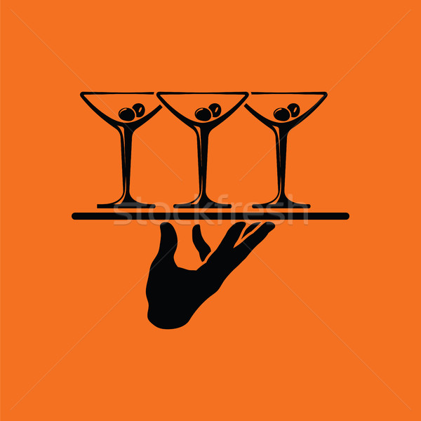Waiter hand holding tray with martini glasses icon Stock photo © angelp