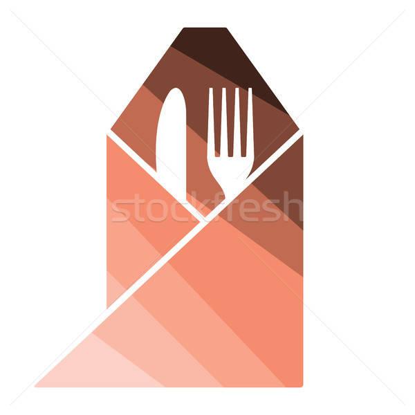 Tenedor cuchillo servilleta icono color diseno Foto stock © angelp