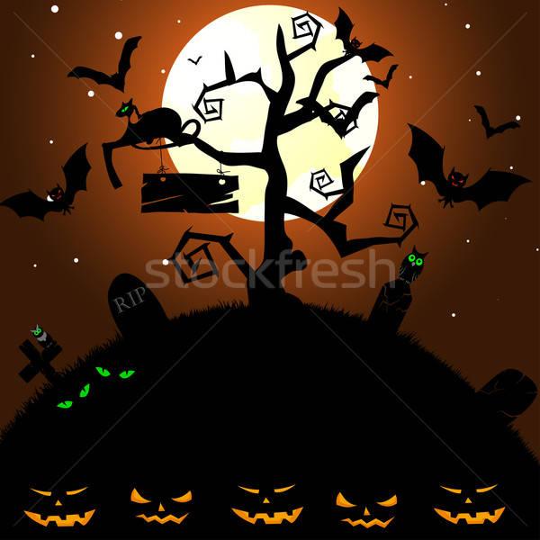 Feliz halloween cartão casa cara projeto Foto stock © angelp