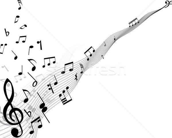 Stock fotó: Musical · hangjegyek · vonalak · terv · háttér · kulcs