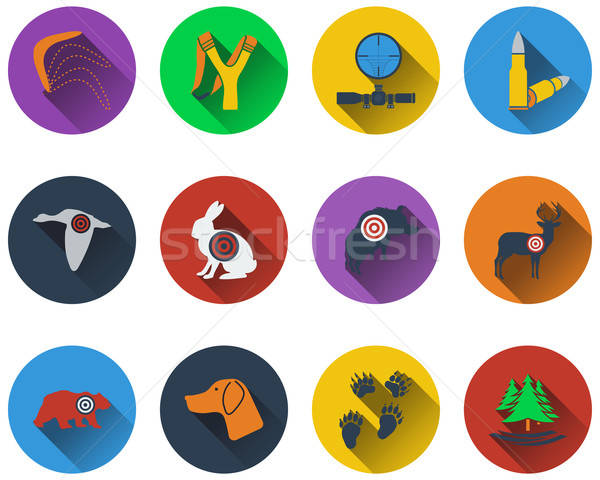 Set of hunting icons Stock photo © angelp