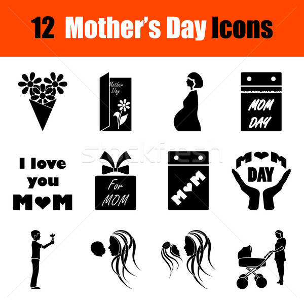 Set of Mother's day icons Stock photo © angelp
