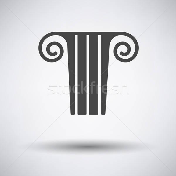 Antique column  icon on gray background Stock photo © angelp
