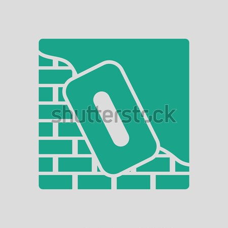 Flat design icon of plastered brick wall  Stock photo © angelp