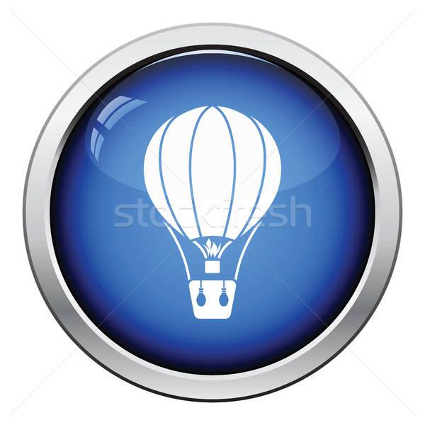Luchtballon icon glanzend knop ontwerp hemel Stockfoto © angelp