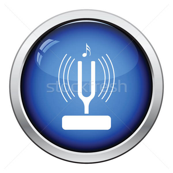 Tuning vork icon glanzend knop ontwerp Stockfoto © angelp