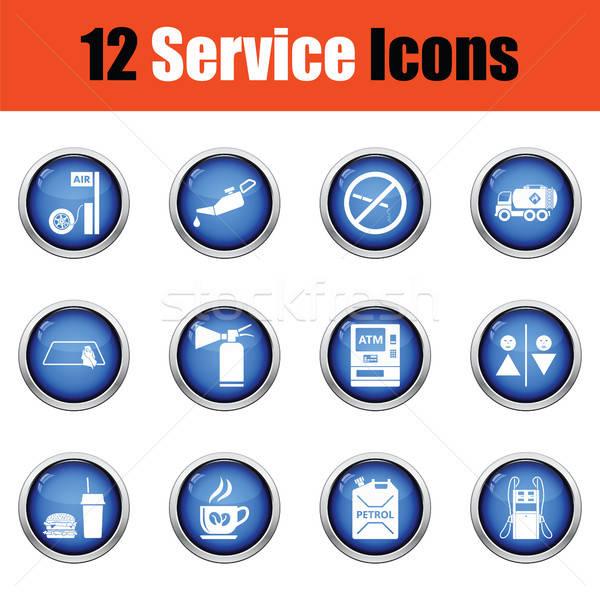 Ingesteld twaalf tankstation iconen glanzend Stockfoto © angelp