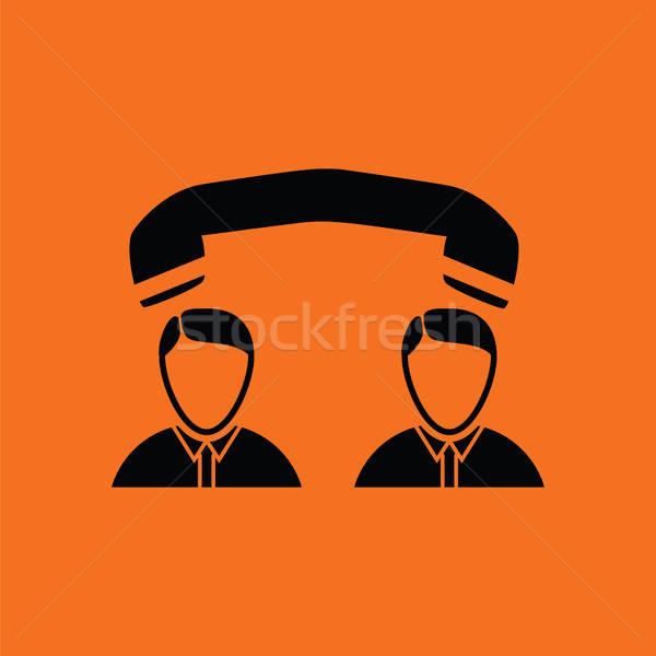 телефон разговор икона оранжевый черный служба Сток-фото © angelp