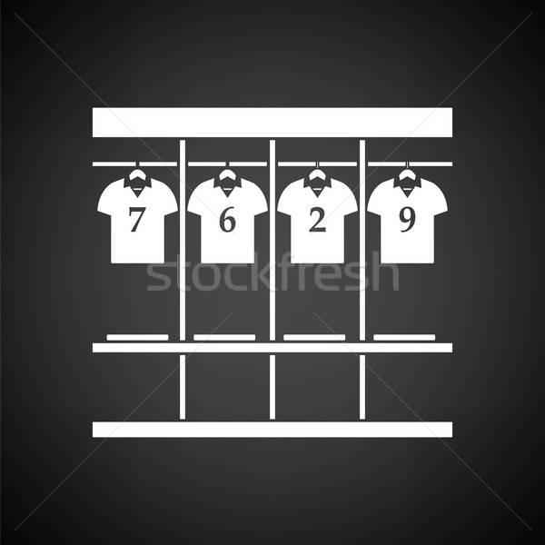 раздевалка икона черно белые спорт студент двери Сток-фото © angelp