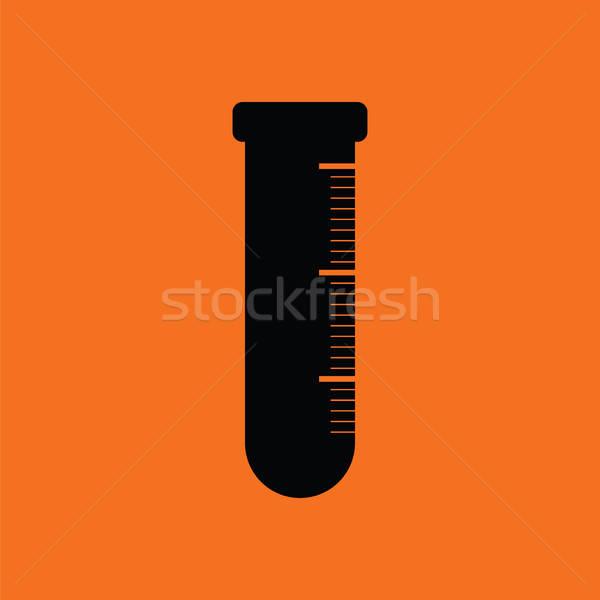 Stock fotó: Ikon · kémia · főzőpohár · narancs · fekete · orvosi