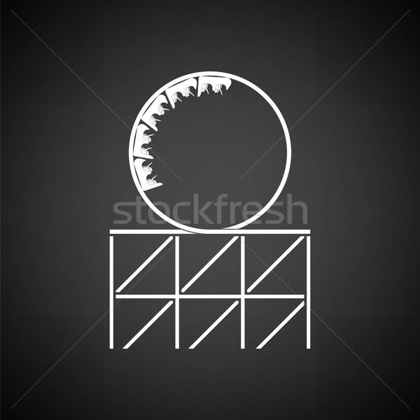 Pętla ikona czarno białe chłopca prędkości Zdjęcia stock © angelp