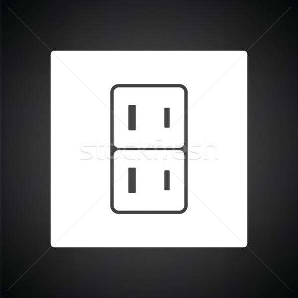 Elektrik soket ikon siyah beyaz imzalamak siyah Stok fotoğraf © angelp