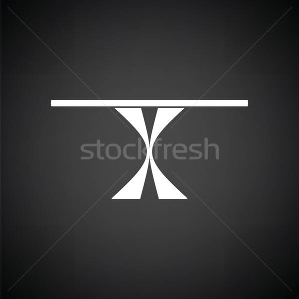 Yemek masası ikon siyah beyaz mutfak tablo akşam yemeği Stok fotoğraf © angelp