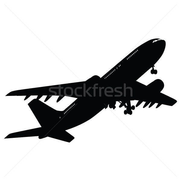 Avion silhouette blanche affaires technologie fond Photo stock © angelp