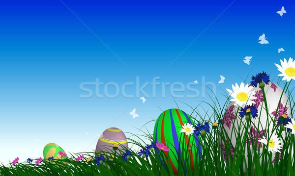 пасхальных яиц весна луговой Blue Sky Пасху небе Сток-фото © angelp