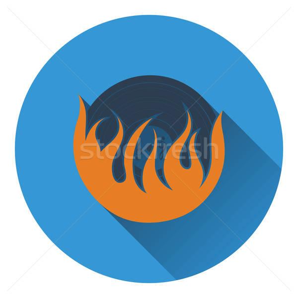 Vlam vinyl icon muziek ontwerp energie Stockfoto © angelp