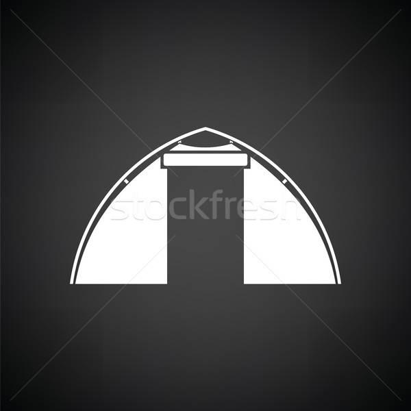 Turisztikai sátor ikon feketefehér felirat utazás Stock fotó © angelp