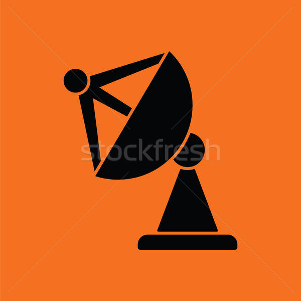 Satelliet antenne icon oranje zwarte televisie Stockfoto © angelp