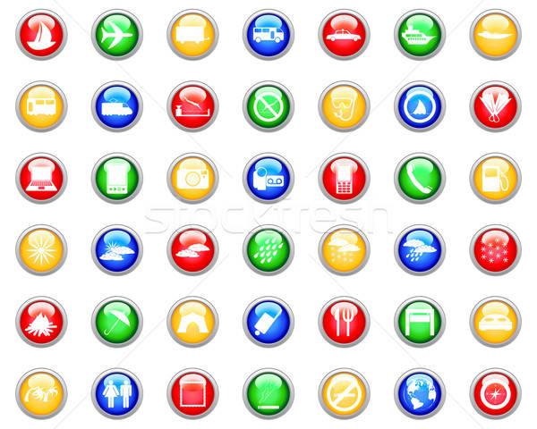 Utazás ikon szett gyűjtemény különböző ikonok web design Stock fotó © angelp